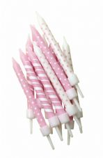 12 Pink Patterned Candles